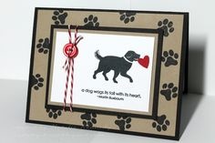 """handmade Valentine card: Sit. Stay. Stamp.: For a friend ... great card for a dog lover ... paw prints on main panel framing ... dog carrying a heart ... good """"man"""" card ..."""