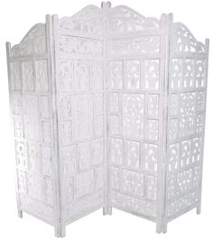 4 Panel Hand Carved Indian Screen Wooden Gamla Design Screen Room Divider [White,183x50cm