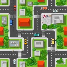 Top view of the city seamless pattern of streets, roads, houses, and carsA Vector illustration, that may be needed creative desig