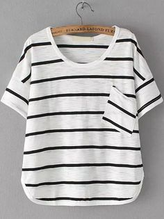 Black White Short Sleeve Striped Pocket T-Shirt Mobile Site
