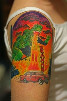 Godzilla and car tattoo Tattoo Name Tattoos On Arm, Car Tattoos, Tattoos With Kids Names, Finger Tattoos, Tattoos For Women, Thigh Tattoos, Godzilla Party, Godzilla Tattoo, World Map Tattoos
