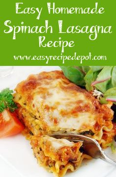 Super easy recipe for delicious homemade spinach lasagna. Perfect for a quick homemade meal for two. You have to try this!