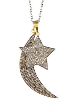 Diamond Thick Moon & Star Necklace - 3.40 ctw by Forever Creations USA Inc. on @HauteLook