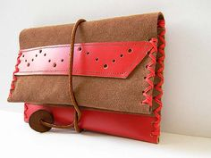 Brown  Red Tobacco Pouch   OOAK   Genuine Leather  by polykatoikia