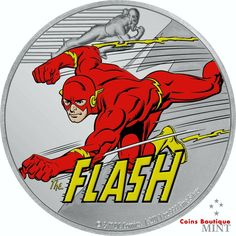 JUSTICE LEAGUE  60th Anniversary THE FLASH 1oz proof silver coin Niue 2020 Justice League 1, Legal Tender, 60th Anniversary, 1 Oz, The Flash, Silver Coins, Dc Comics, Contrast, Logo