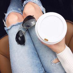 Fall days call for distressed denim, classic aviators & pumpkin lattes.