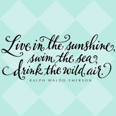 "lavendersummers: ""this was my senior quote in my high school yearbook :) life-love-laughter: "" live in the sunshine, swim in the sea, drink the wild air. - ralph waldo emerson {via etsy} "" "" Jack Kerouac, Great Quotes, Quotes To Live By, Inspirational Quotes, Inspiring Sayings, Unique Quotes, Random Quotes, Awesome Quotes, Motivational"