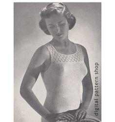 1940s Vintage Knit Camisole Pattern Womens by DigitalPatternShop, $3.25