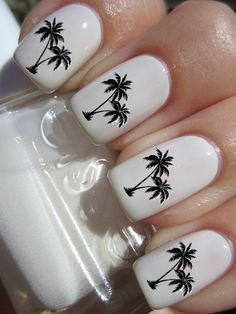 Palm Tree Nail Decals by PineGalaxy on Etsy, $4.50