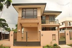 Real Estate Davao Two Naomi House Model Two Story House Design, 2 Storey House Design, Small House Design, Modern House Design, Duplex Design, Modern Houses, Modern House Floor Plans, Dream House Plans, Style At Home