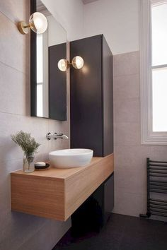 60 stunning small bathroom makeover ideas 34 ~ Design And Decoration Bathroom Wall, Bathroom Storage, Small Bathroom, Bathroom Ideas, Bathroom Makeovers, Gold Bathroom, Bathroom Sinks, Wall Storage, Relaxing Bathroom