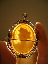 Victorian 14k gold carved shell cameo brooch pendant filigree antique pin hand