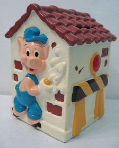 Vintage 1959 Three Little Pigs Bank Walt Disney Productions Japan Disneyland #UCGC