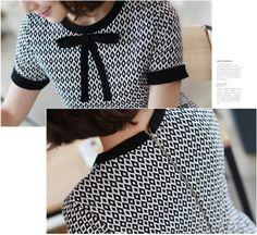 Um vestido preto e branco com laço na gola | Maria Rosa Mulher