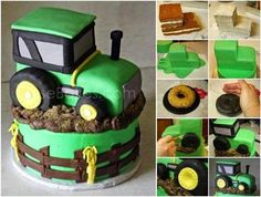DIY Tractor Cake Tutorial  See more details here -> http://goo.gl/Ze9NsJ  - Home Design - Google+