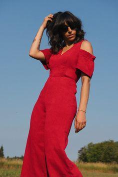 red jumpsuit, red, off the shoulder, blue skies, randa salloum, fashion blogger