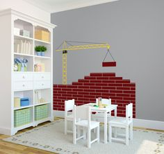 Construction Scene with Crane Kids Room Playroom-Wall Decal Custom Vinyl Art Stickers. $35.00, via Etsy.