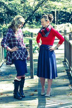 Modest bowknot denim skirt and plaid hi-lo top