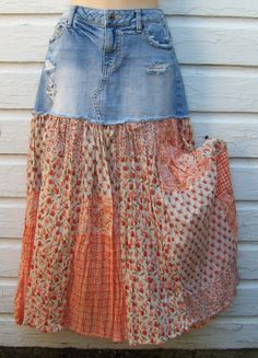 Reconstructed Upcycled Denim and Patchwork Skirt by ForgetMeNaught, $24.00