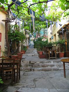 The Plaka is a neighborhood in Athens, Greece near the Acropolis. It is like a village within the city.