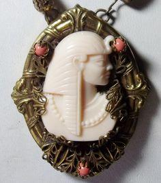 *Magnificent Czech Egyptian Revival Glass Pharoah Art Deco Necklace* | eBay