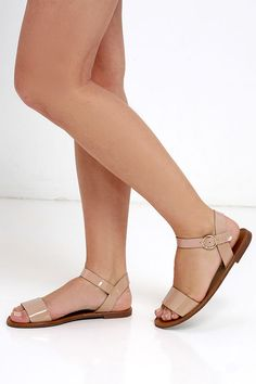 Hearts and Hashtags Nude Patent Flat Sandals at Lulus.com!