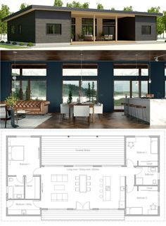 Small House Plans, Home Plans, Architecture, Small Modern House Plans, Small House Plans, Modern House Design, Modern Bungalow House Plans, Bungalow Floor Plans, House Construction Plan, Casas Containers, Container House Plans, Sims House