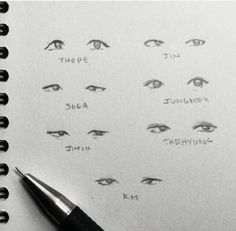 Ideas For Eye Drawing Reference Asian Drawing Techniques, Drawing Tips, Drawing Reference, Drawing Sketches, Design Reference, Drawing Ideas, Sketching, Bts Eyes, Fanart Bts