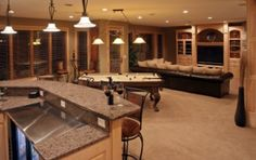 Cost of Finishing Basement: How to Properly Allot Your Funds : Estimated Cost of Finishing Basement. Morrison home remodel. Cost of Finishing Basement House Design, House, Family Room, Home, Game Room, New Homes, Bars For Home, Entertainment Room Design, Basement Design