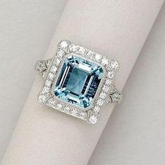 Aquamarine, Diamond and Platinum Ring by lucia