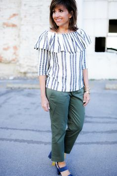 Stripe Top and Olive Pants
