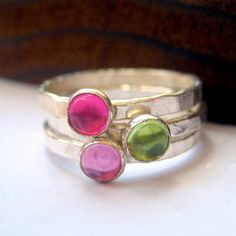 Stacking rings peridot rose sapphire & ruby in by littlebugjewelry, $104.00