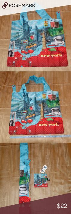 Loqi New York Reusable Bag with Carrying Pouch Loqi New York Reusable Bag with Carrying Pouch.  Water resistant.  Folds neatly into its pouch.    Everyone needs to have one in your purse.  I have mine.  We can each do our part, however little, and save our world from plastic bags.  Get your reusable bag today.  It does not have to be boring.  Colorful and fun! Loqi Accessories