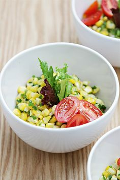 Sweet corn salad with jalapeños, chives and lime-infused oil
