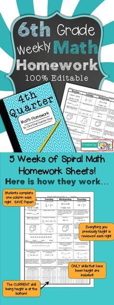 6th Grade Math Spiral Review   6th Grade Math Homework or Warm Ups ...