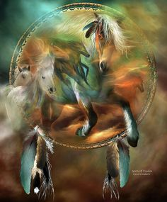 Spirit Horses, running as wild and as free as the wind. This painting of horses running within a dream catcher is from the 'Dream Catcher' collection of art by Carol Cavalaris.