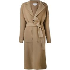 Loewe belted long coat (€2.315) ❤ liked on Polyvore featuring outerwear, coats, beige, long beige coat, longline coat, camel belted coat, long brown coat and long coat