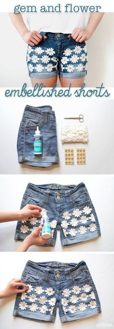 Such a simple DIY that adds tons of summer style to regular jean shorts. No sewing required! www.ehow.com/info_12340595_embellish-denim-shorts-gem-flower-trim.html?utm_source=pinterest.com&utm_medium=referral&utm_content=freestyle&utm_campaign=fanpage