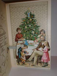 Sehr schöne Kulissenkarte-Klappkarte-Prägelitho-Glanzbild-Oblate-Weihnachten