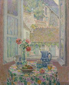 Henri Le Sidaner. La table sur la cour