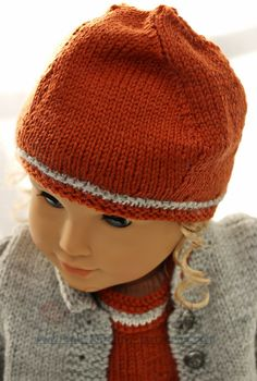 Doll knitting patterns - Fall Fashion for your doll, in rust, gray and white Doll Patterns, Knitting Patterns, Teddy Bear Patterns Free, Knit Crochet, Crochet Hats, Knitting Dolls Clothes, American Doll Clothes, Baby Knitting, Baby Dolls