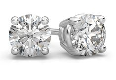 ApplesofGold.com - 1.00 Carat Round Diamond Stud Earrings in 14K White Gold Jewelry $2,550.00