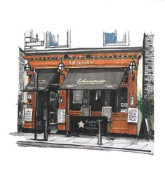 A study of the rather lovely Salamanca restaurant in Dublin. Great facade and great food 🥘