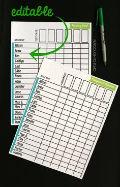 Editable organization sheets for teachers.