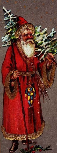 St. Nicholas, with tree. These are scraps of Saint Nicholas or Father Christmas....not SANTA Claus. (He came later,and is a different image)