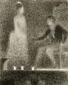 """urgetocreate:  Georges Seurat, """"Scene from a Play"""" Circa 1887-1888 Conte Crayon and white chalk on laid paper H.30.8; W. 23.6cm"""