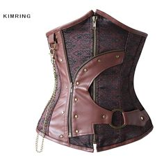 Steel Boned Waist Slimming Corsets and Bustiers Steampunk Underbust Corset Gothic Zipper Korset Corpetes E Espartilhos Sexy Gothic Steampunk, Steampunk Clothing, Steampunk Fashion, Gothic Clothing, Corset Underbust, Waist Cincher Corset, Waist Trainer Corset, Leather Corset, Black Corset