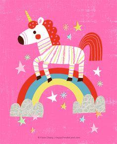 Unicorn art print | Flora Chang, Happy Doodle Land