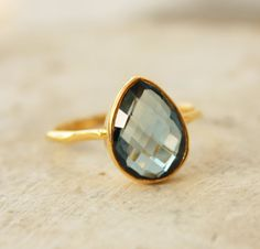 Gold Blue Topaz Ring Teardrop Shape Stacking Ring by OhKuol on Wanelo
