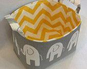 etsy   Fabric Bin, Fabric Storage Organizer, Basket, Grey Elephant with Yellow/White Chevron Lining